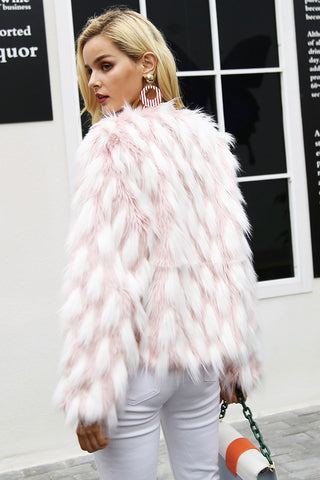 Fluffy Warm Faux Fur Chic Pink Party Furry Overcoat
