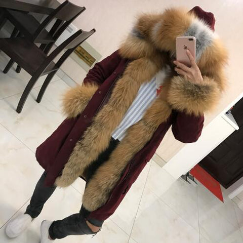 Real Fur Parka High Quality Rex Fur Lining Fox Fur Collar