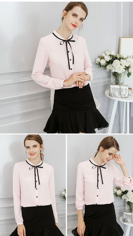 Elegant Office Blouse Long Sleeve Bow Slim Work Blouses