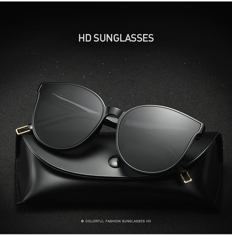 Luxury Flat Top Cat Eye Twin Beam Sunglasses
