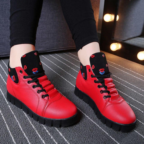 Warm With Fur Ankle Leather High Top Sneaker