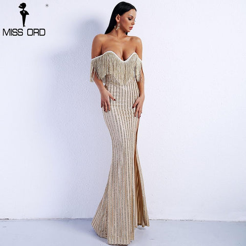 Sexy Elegant V Neck Off Shoulder Tassel Glitter High Split Maxi Dress
