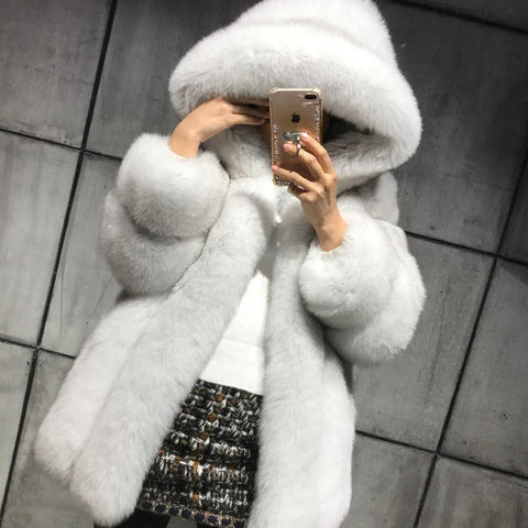 natural fur coat hooded women real fur coat hooded