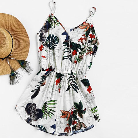 V Neck Sleeveless High Waist Tropical Print Surplice Tulip Romper