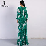 Summer Deep V Two Split Print Beach Long Sleeve Maxi Dress