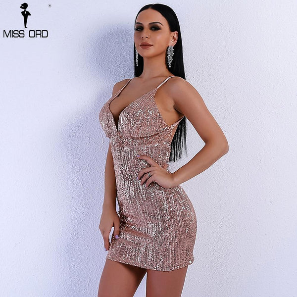 Off Shoulder Harness Backless Elegant Sequin V Neck Mini Body-con Party Dress