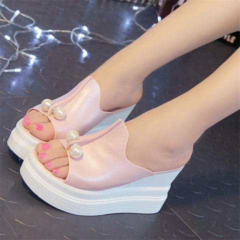 High Platform Wedges Sexy Beading Slides Thick Heel Open Toes Slipper