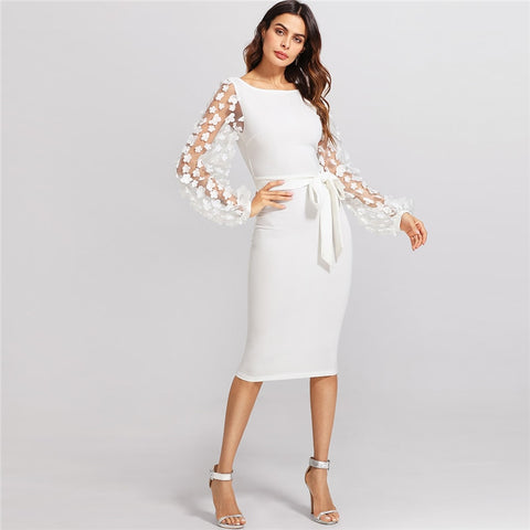 White Embroidery Contrast Mesh Belted Pencil Solid Knot Zipper Dress