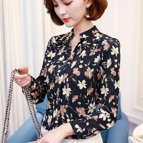 Elegant Long-Sleeve Chiffon Ruffle Work Tops