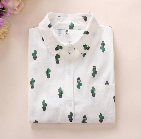 New Long Sleeve Cartoon Print White Blouses Shirt