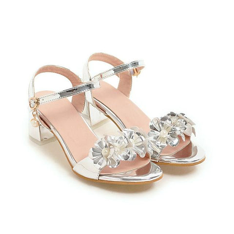 Sandals Flower Chunky Buckle Sliver Heel