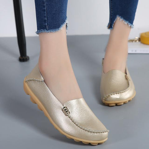 Genuine Leather Breathable Slip-on Peas Massage Ballet Flats