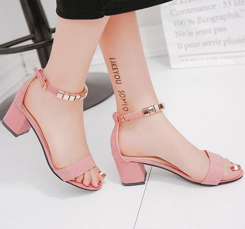 String Bead Open Toe Square heel