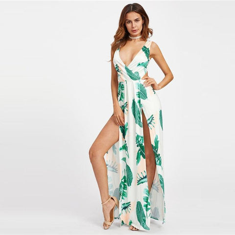 pen Back M-Slit Palm Leaf Print V Neck Maxi Dress