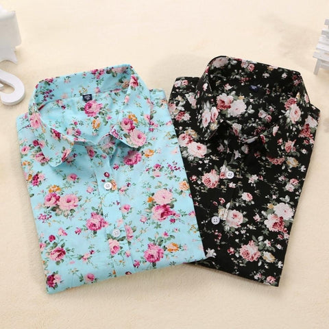 Vintage Floral Blouse Long Sleeve Cotton Shirt