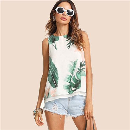 Bohemian Tropical Print High Low Round Neck Tank Top