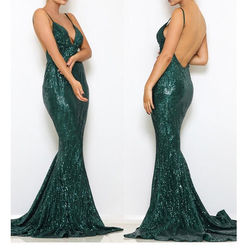Hollow Out Floor V Neck Backless Mermaid Maxi Party Dress