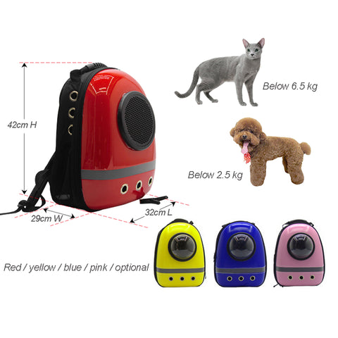 Cute Pet back-Pack Cat Dog Puppy Carrier Travel Bag Space Capsule Backpack Breathable Plastic Bag