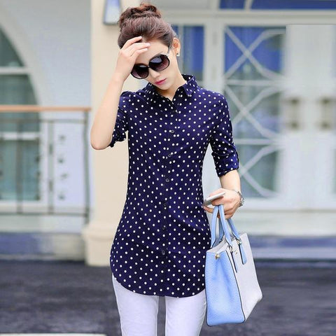 Long Style Cotton Top Long Sleeve Shirt