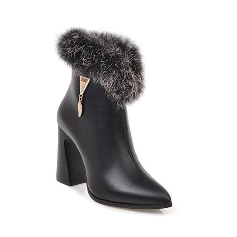 Winter High Heels Ankle Real Fur Zip Thick Heel Boot