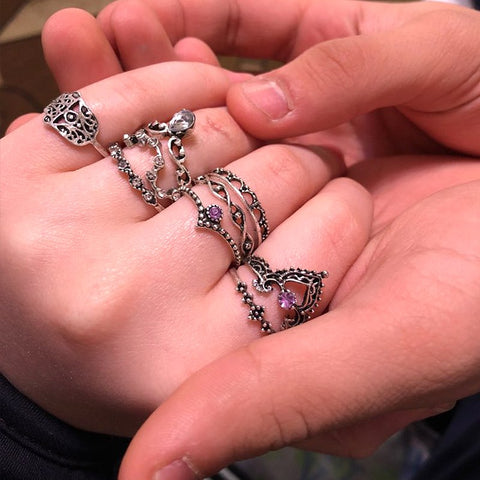 10Pcs/set Palm Gem Midi Ring Sets Crown Water drops Vintage Crystal Opal Knuckle Rings