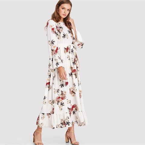 Beach Floral Print Round Neck Long Sleeve Maxi Dress