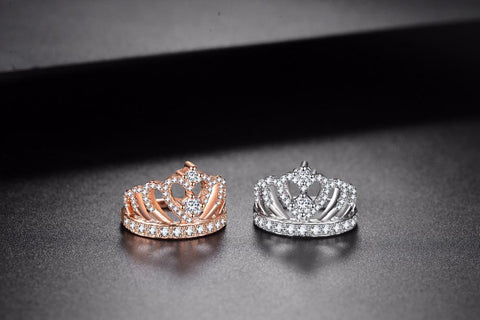 Princess Style Cubic Zirconia Hollow Heart Crown Ring