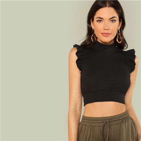 Elegant Stand Collar Mock Neck Ruffle Armhole Skinny Crop Top