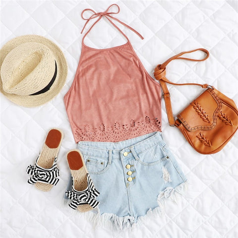 Scallop Laser Suede Halter Cut Out Backless Plain Vest Crop Top