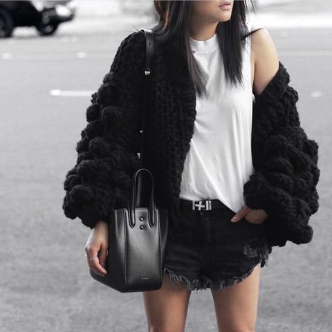 Knitted Cardigan Long Sleeve Winter Tops