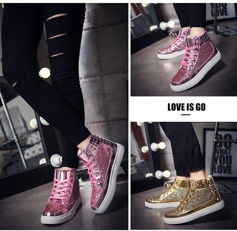 Rhinestone Lace-up Bling Ankle Shoes