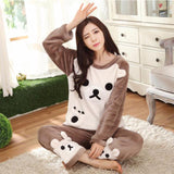 Cute Kitty Flannel Warm Winter Long Sleeve Sleepwear Suit Sets