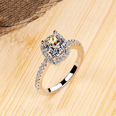 Elegant Temperament White Silver Filled Wedding Ring