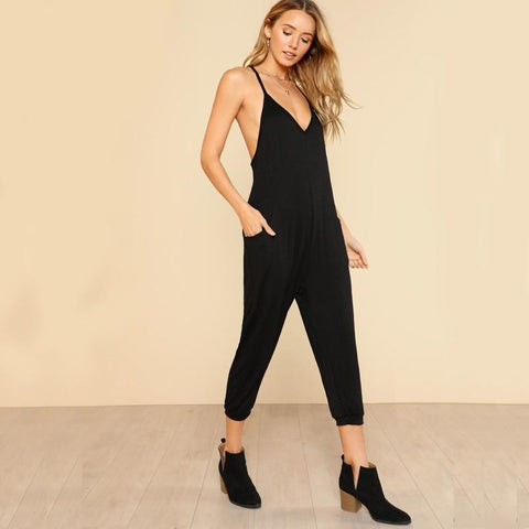 Black Straps Special Back Mid Waist Ankle Calf Length Sexy Jumpsuit