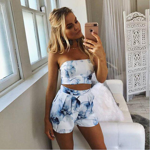 Two Piece Set Sunflower print Off Shoulder Crop Top Short