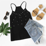 Pearl Embellished Sleeveless V-Neck Spaghetti Strap Tops