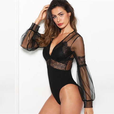 Black Sexy Plunge Neck Lace Insert Sheer Mesh Puff Sleeve Mid Waist Bodysuit