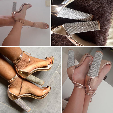 Sandals Bandage Rhinestone Ankle Strap Super High Square Heel