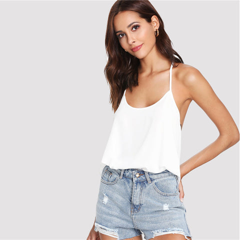 Bohemian Bow Embellished Open Back Solid Plain Camisole Tops