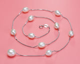 Natural Pearl Chokers Necklaces 925 Sterling Silver With Silver Chain Pearl Necklace & Pendant