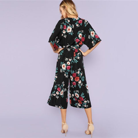 Beach Split Side Floral Culotte Mid Waist Belted Jumpsuit