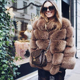 Real Fox Fur Genuine Leather Overcoat