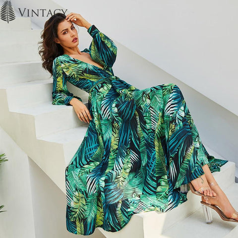 Long Sleeve Tropical Beach Vintage Maxi Dress