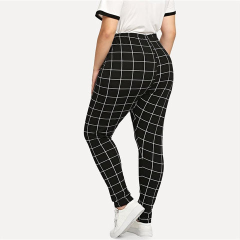 Elegant Mid Waist Grid Print Long Casual Legging