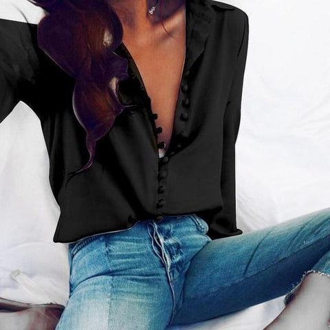 Sexy Button Long-sleeved Spring Chiffon Blouse Shirt