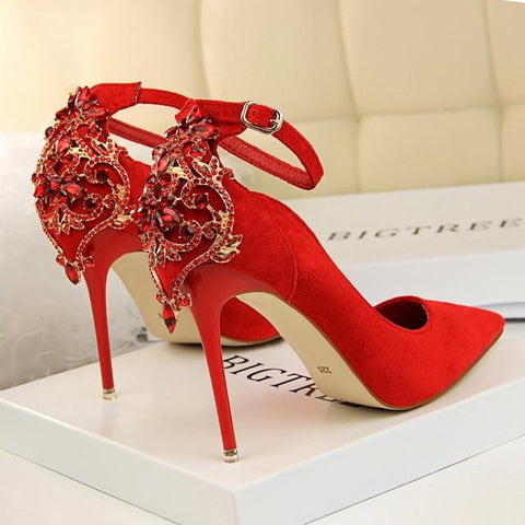 Elegant Crystal Pointed Toe Solid Flock Buckle Shallow High Heels
