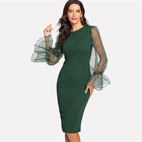 Pearl Beaded Mesh Sleeve Knee Length Regular Fit Body-con Dress