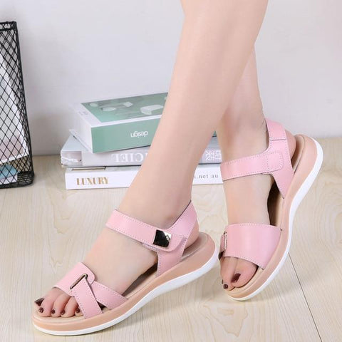 Comfortable Leather Casual Hook Loop Sandal