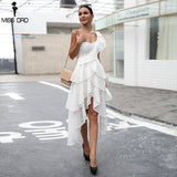 Sexy One Shoulder Lace Female ruffle Backless Elegant Party Dress
