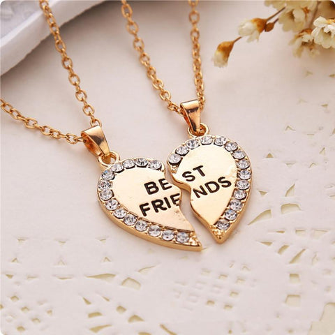 Split Half Heart Rhinestone Best Friend Pendant Long Necklace